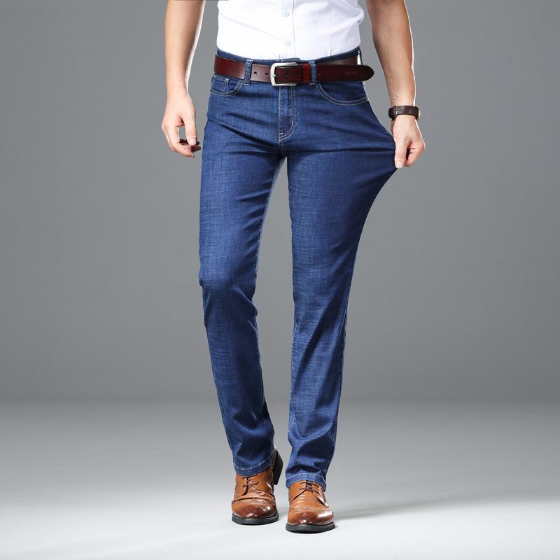 2019 Jeans ligeros Hombres Pantalones rectos masculinos Pantalones vaqueros clásicos Hombres Elasticidad de mezclilla Pantalones de moda Pantalones finos Utr Azul claro