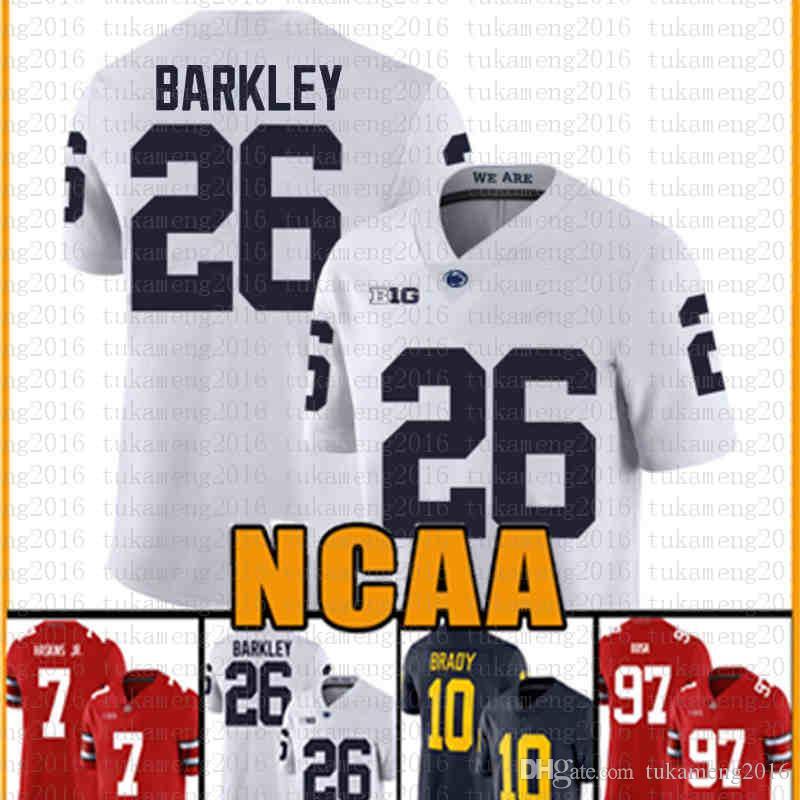 Penn State Nittany Lion 26 Saquon Barkley Amerikan futbolu Jersey 10 Tom Brady 97 Nick Bosa Formalar yetişkin VETHB