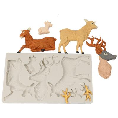Elk Deer Head Antlers Chocolate Silicone Mold Christmas Fondant Cake Decorating Tools Jelly Pudding Candy Moulds