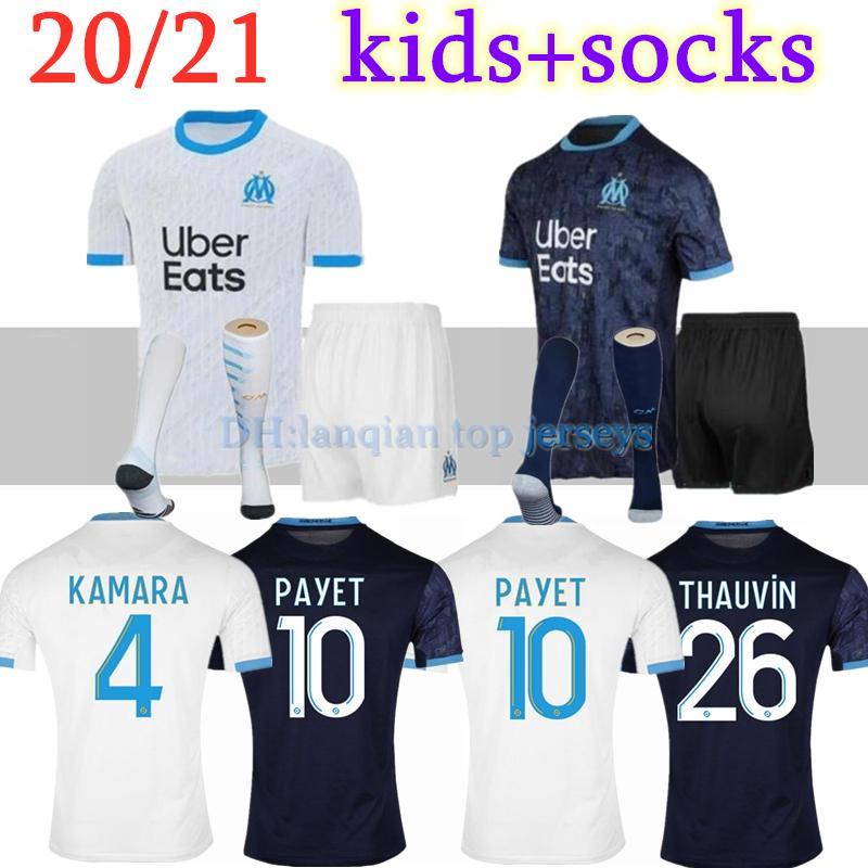 Дети комплект + носки 20 21 Olympique OM Marseille футбола трикотажные комплекты 2020 Марсель Майо-де-футовый Пайе Camisetas Пайе Балотелли футбол набор