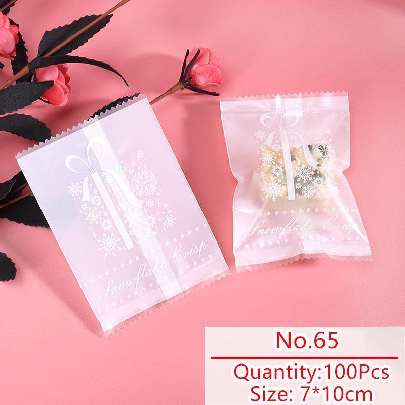 100pcs / lot del modello Candy Bag Biscotti casalinghi Inverno Colore Bianco opaco del fiocco di neve del nastro Sack Torrone Partito Snack sacchetto dell'imballaggio