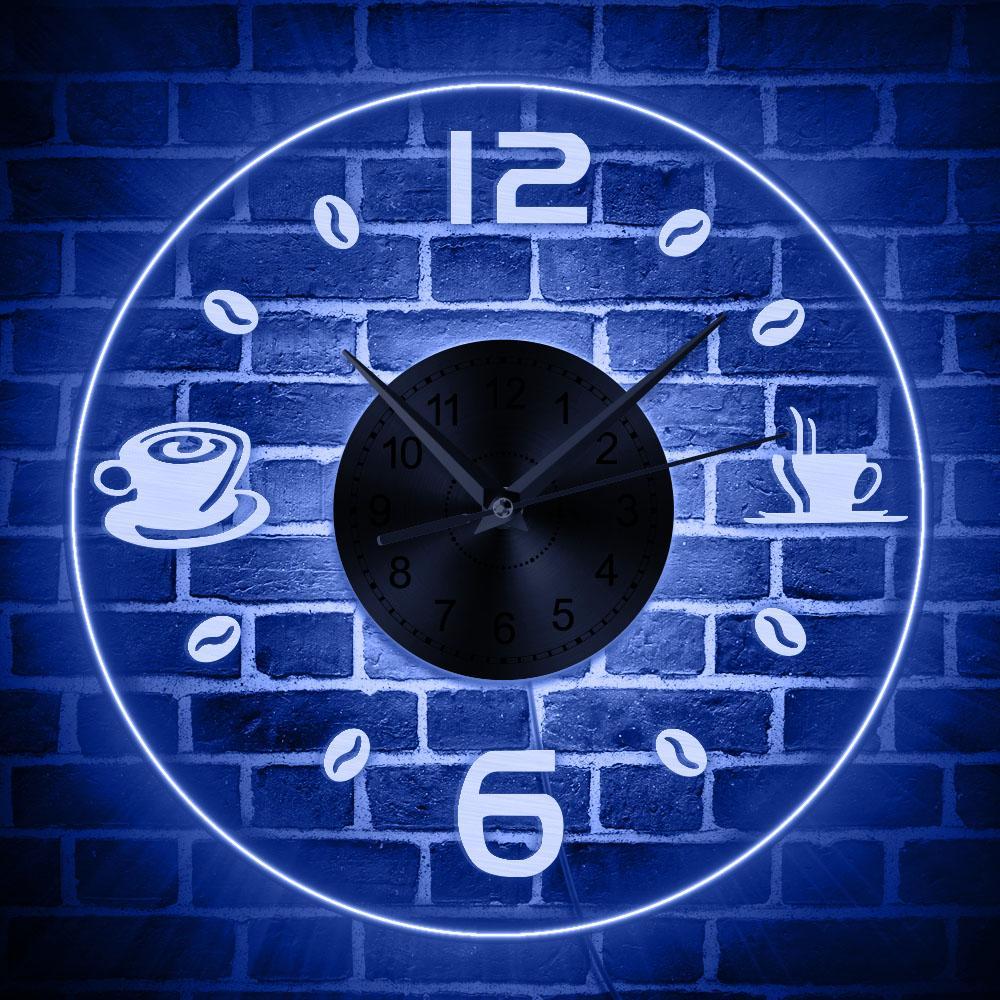Entrar Café Vintage Design Iluminado Wall Clock Coffee Bean LED Lighting Negócios Neon Cafe Kitchen Wall Art Decor Bar