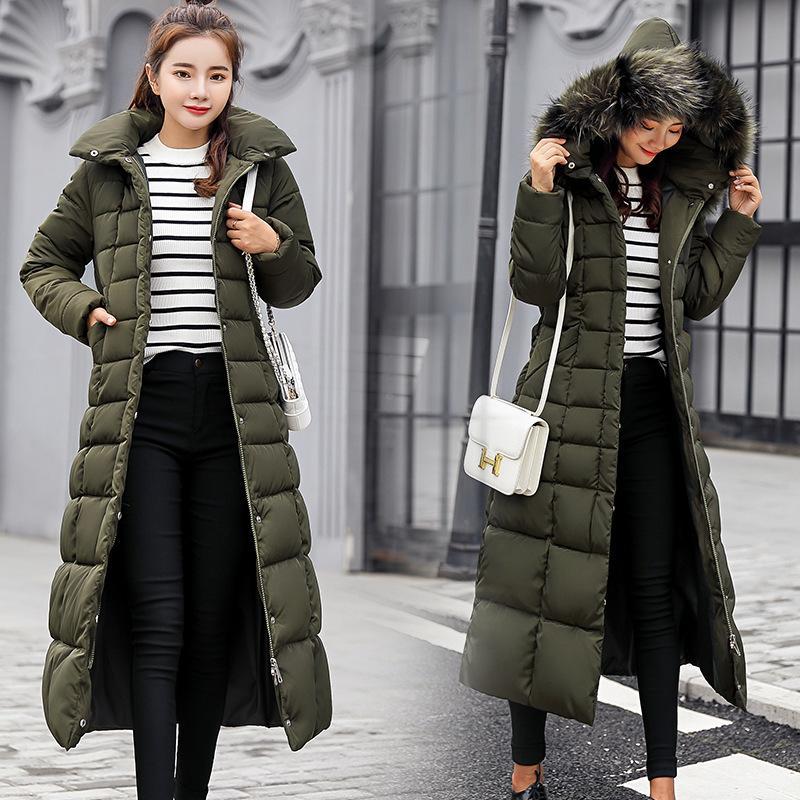 Rivestimento di modo delle donne di inverno grande pelliccia Cintura spessa incappucciata giù parka X-lungo femminile del cappotto del rivestimento Slim caldo inverno Outwear 2019 Nuovo