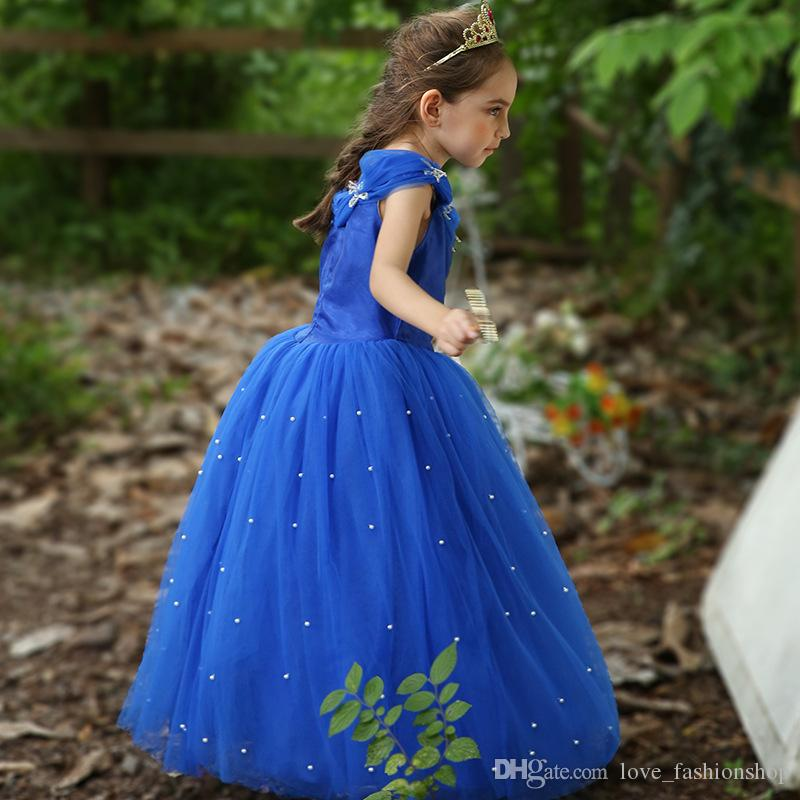 Retail kids designer dress girls pearl beaded Cinderella princess pageant dress children party gown wedding prom dress boutique 50% off