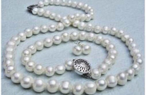 8-9mm Genuine White Akoya Cultured Pearl necklace bracelet Earrings set
