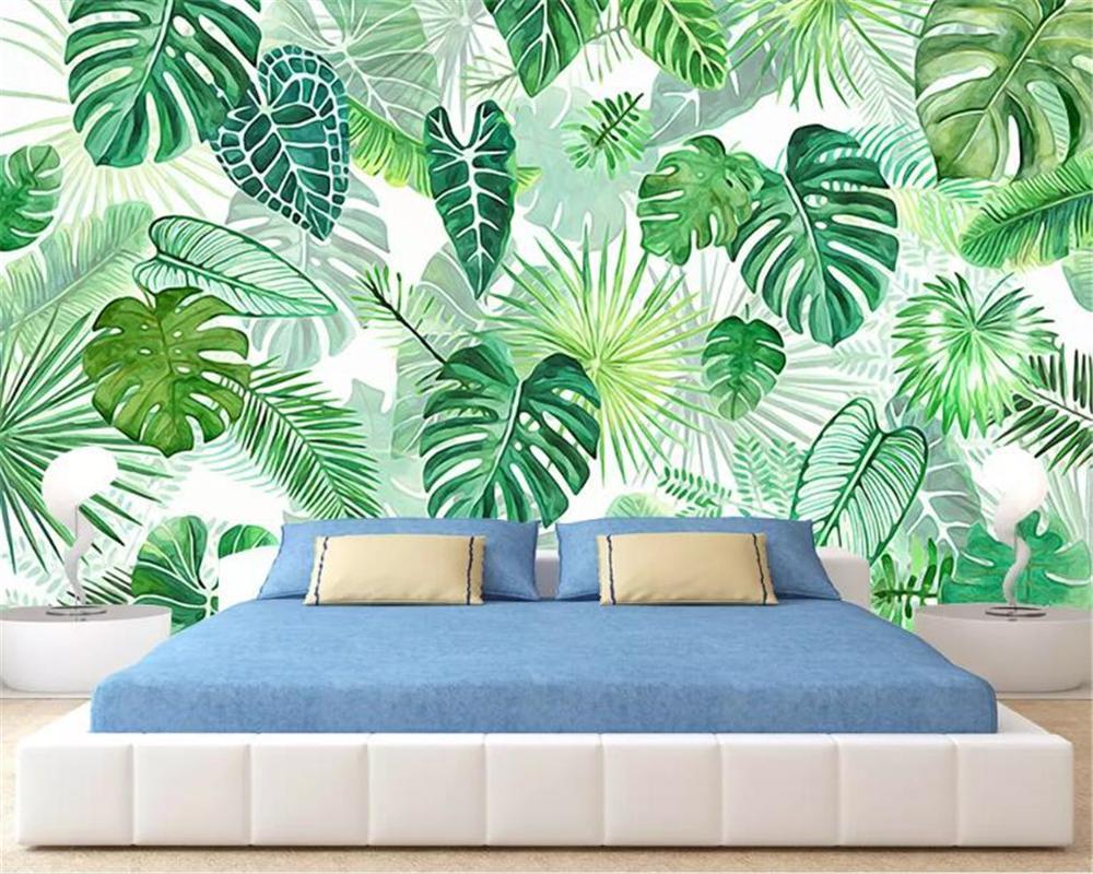 Beibehang Large High Quality Wallpaper Mural Tropical Banana Leaf