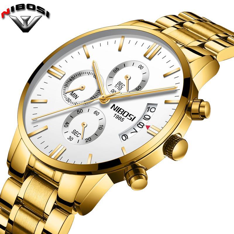 2019 NIBOSI Luxus-Marken-Uhren Männer Art und Weise Sport-Militär Quarz-Uhr-Männer voller Stahl wasserdicht Uhr Man Relogio Masculino LY191206