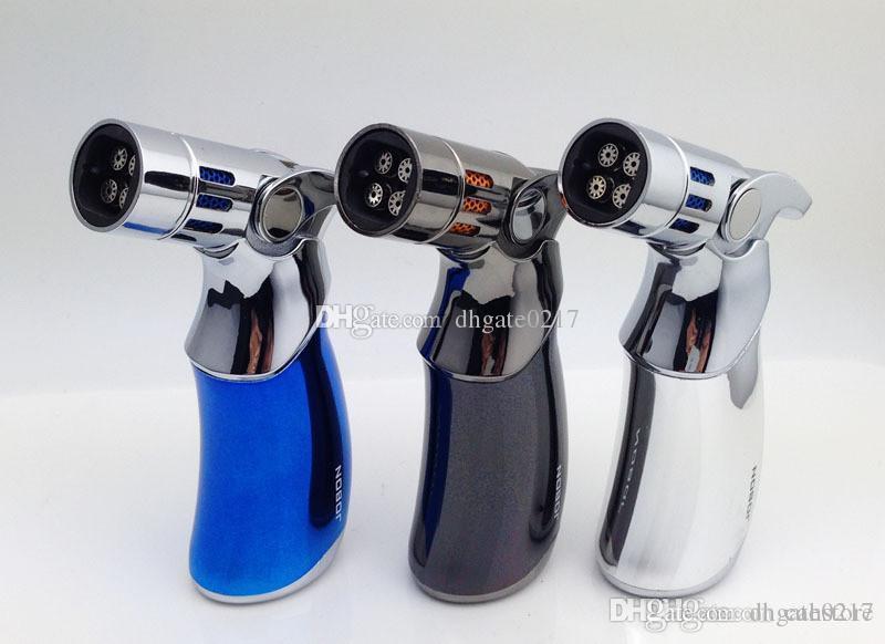 Dhl ücretsiz Bütan gaz Meşalesi rüzgar geçirmez Çakmak Gun Jet Alev dört çakmak mouthes için sigara cam bong mutfak ile yüksek sınıf hediye kutusu