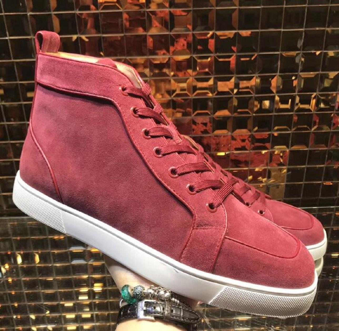 Faça no Fundo de couro Super Qualidade Sports Sneakers Red Canvas Gray Flats Baixo Homens Corte de Homens Júnior lona tênis estilo Trainers