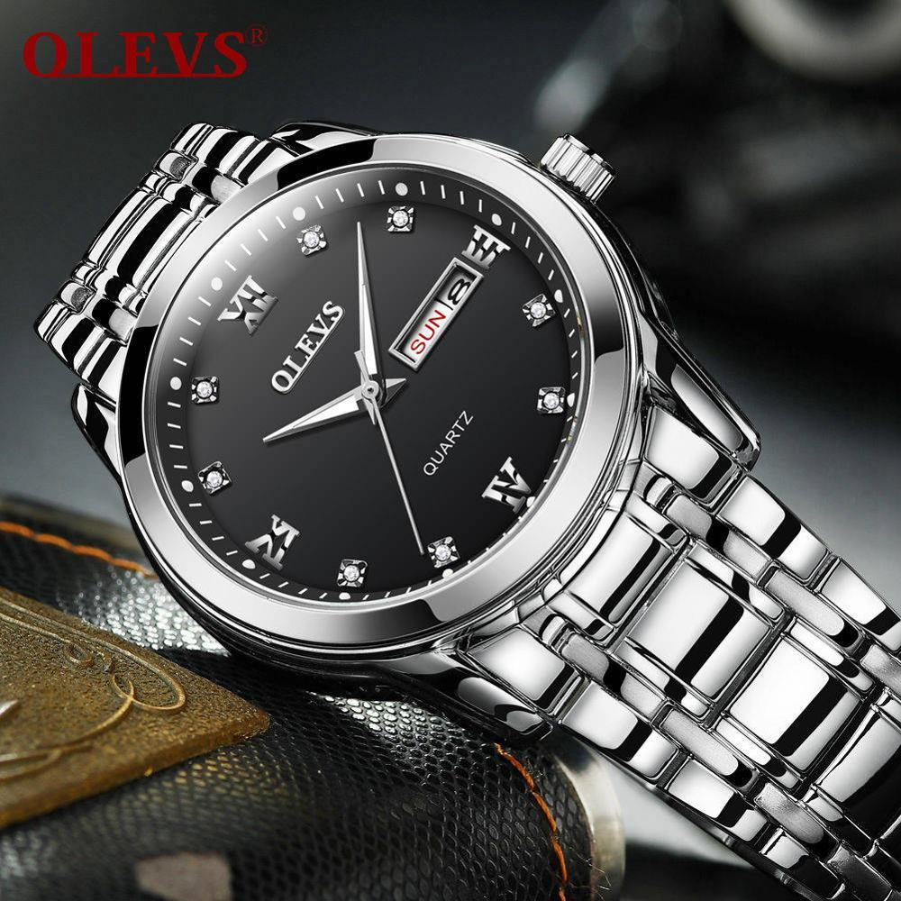 ee199e7522f Compre OLEVS Relogio Masculino Hombres Relojes De Lujo Reloj 3ATM Reloj  Impermeable Relojes De Números Romanos Relojes De Acero Inoxidable Fecha A   64.97 ...