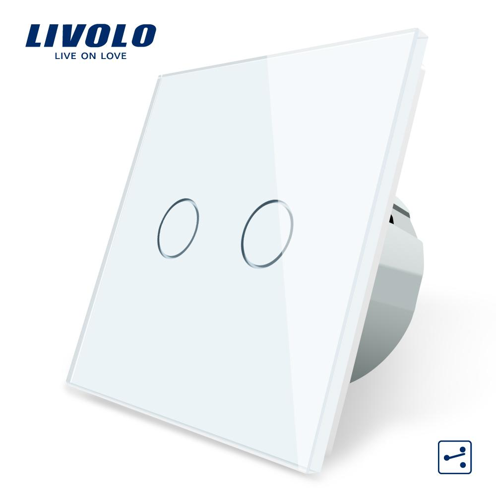 Livolo EU Standard Touch Switch, 2Gang 2Way Control, 7colors Crystal Glass Panel,Wall Light Switch,220-250V,C702S-1/2/3/5 T200605