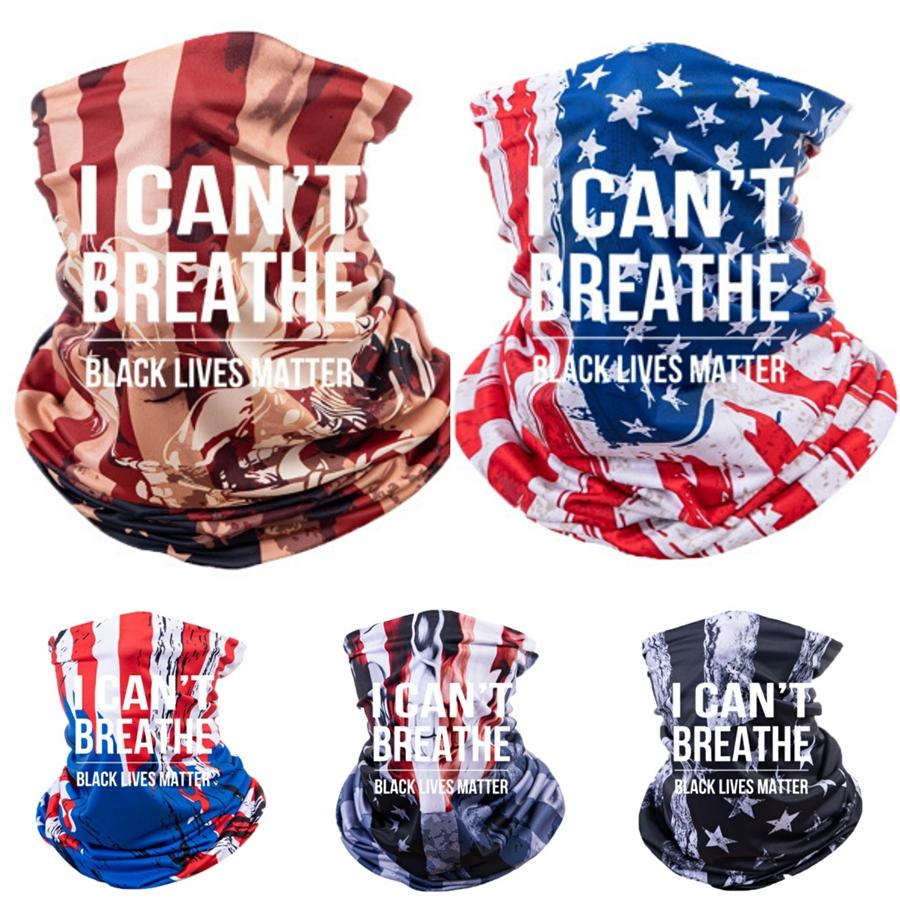 I Cant Breathe!Outdoor Cycling Scarves American Flag 3D Print Face Mask Unisex Dustproof Sunscreen Scarves Bandana Tube Headwear Running F #8