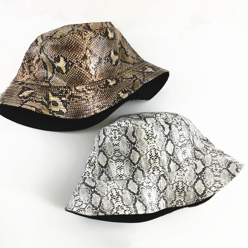 Новая мода змея печати ведро шляпа открытый рыбалка путешествия солнцезащитный крем рыбак шляпа унисекс двусторонний носимый досуг бассейна