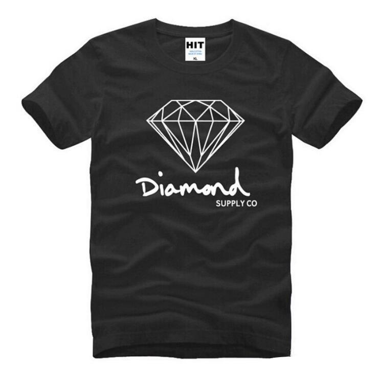 Nuevo verano del algodón de moda hombre de las camisetas de manga corta impresa Diamond Supply Co Superior Masculina Hip Hop Tees patín Marca ropa deportiva