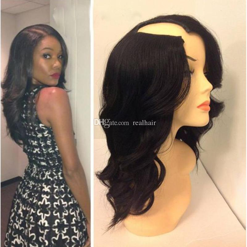 1*4 Right Opening U Part Human Hair Wigs For Black Women Loose Wave Brazilian Virgin Upart Wig 9A