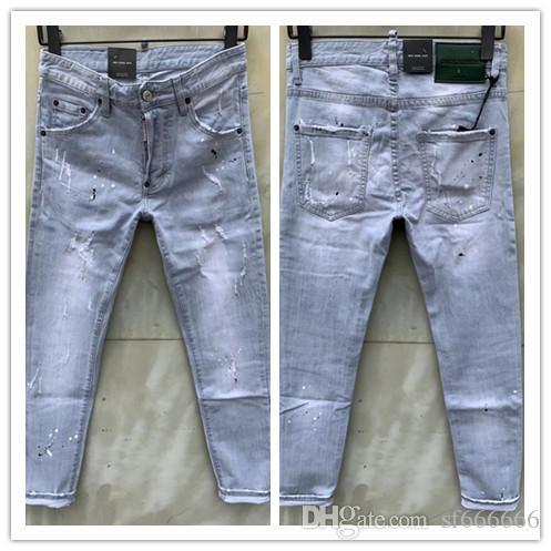 2020 nueva marca de jeans de moda de los hombres europeos y americanos ocasionales, lavado de alto grado, la molienda pura mano, la optimización de la calidad D9103
