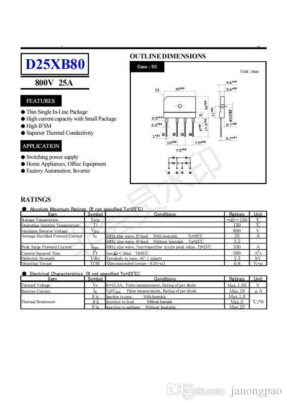 D25XB80 PONTE DIODI 25A 800V D25XB80
