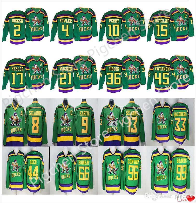 Mighty Ducks Film CCM Vintage 99 Adam Banks 96 Charlie Conway 66 Gordon Bombay 9 Paul Kariya 8 Teemu Selanne Hockey Jersey