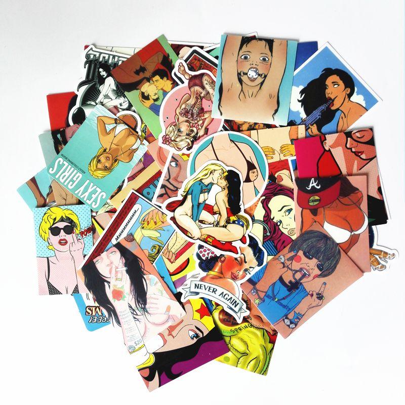 Td zw 50 قطعة / المجموعة ندف الشائع مثير جمال فتاة ملصقات للالجليد سكيت محمول الأمتعة سيارة ثلاجة سيارة التصميم الفينيل pegatina