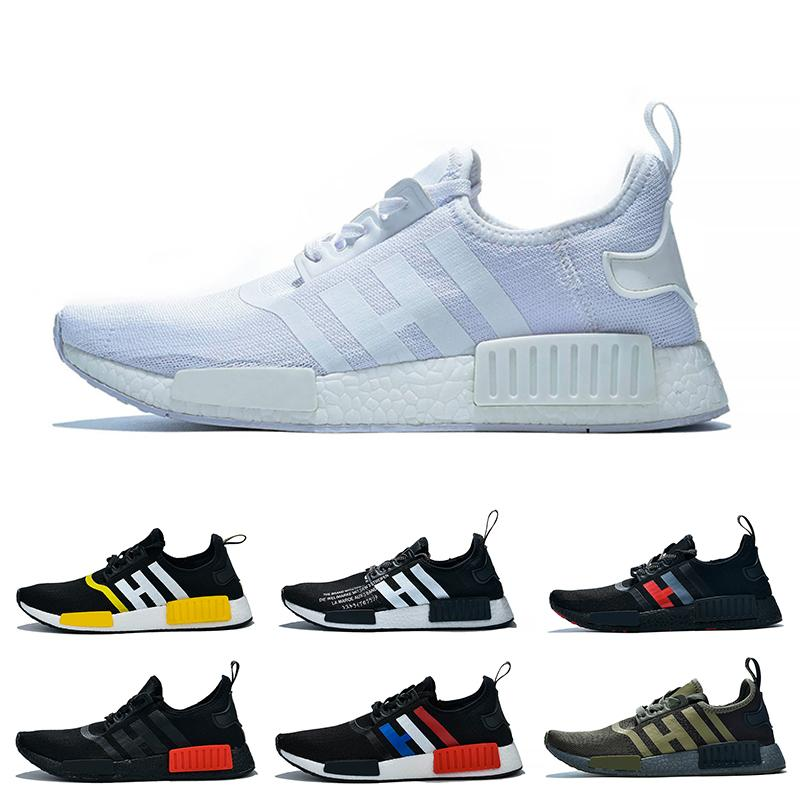 Sıcak Koşu ayakkabıları R1 erkek kadınları satan Triple ler siyah zeytin, yeşil Sarı Beyaz Klasik renkler tasarımcı eğitmenler spor ayakkabı 36-47