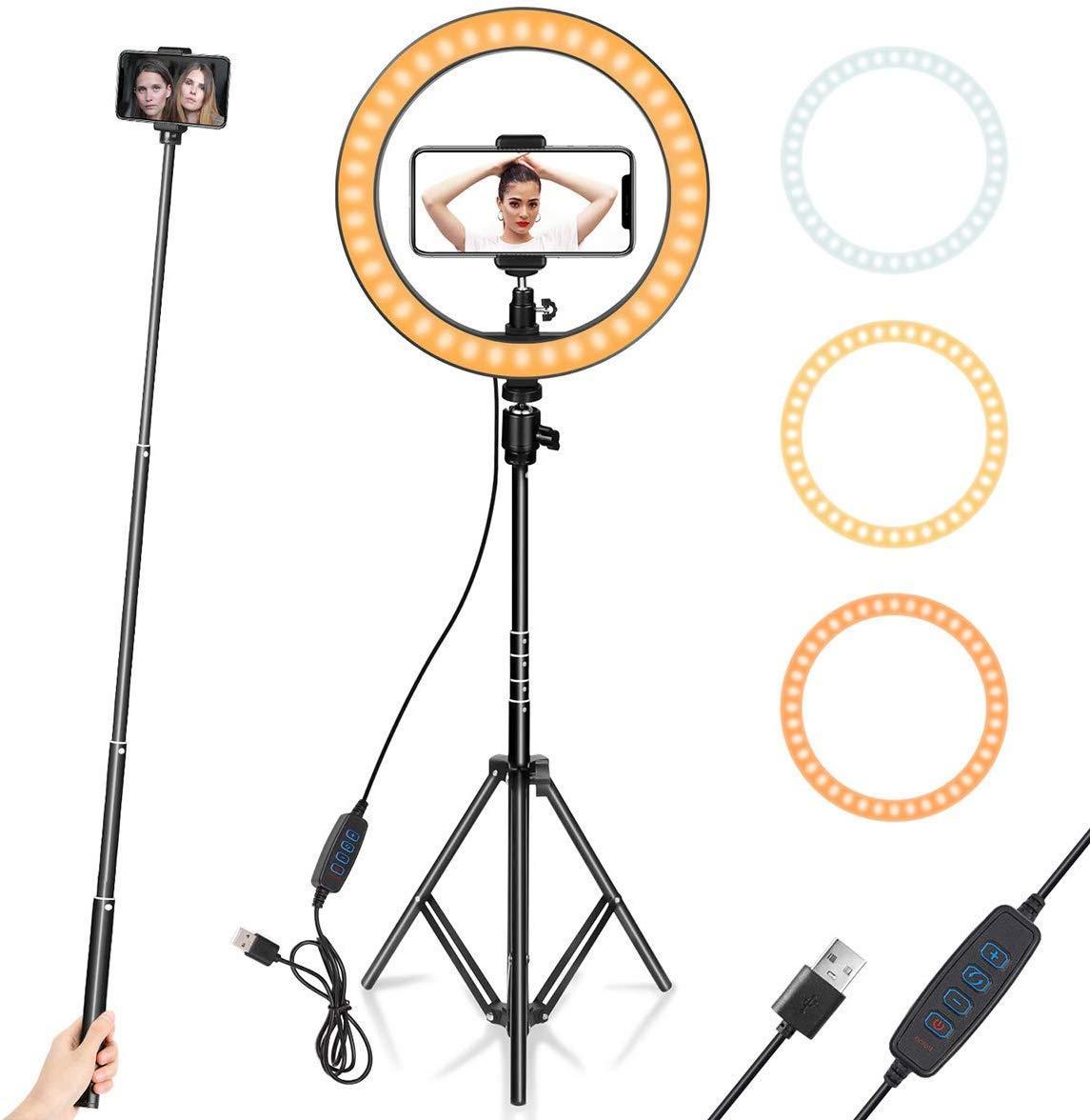 """Ringlicht 10 """"mit Stativständer-Telefonhalter für YouTube-Video, Desktop-Kamera-LED-Ringlicht für Streaming, Makeup"""