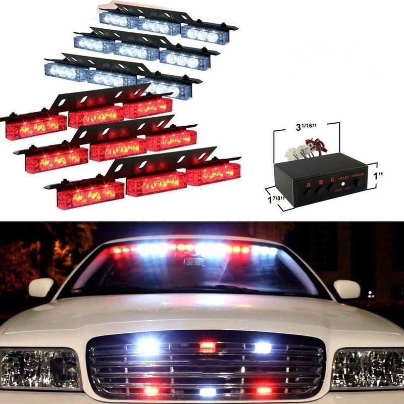 54x LED Emergency Vehicle Strobe Lights Bars Deck Dash Grill Warning Lights For Truck Car (Red White)