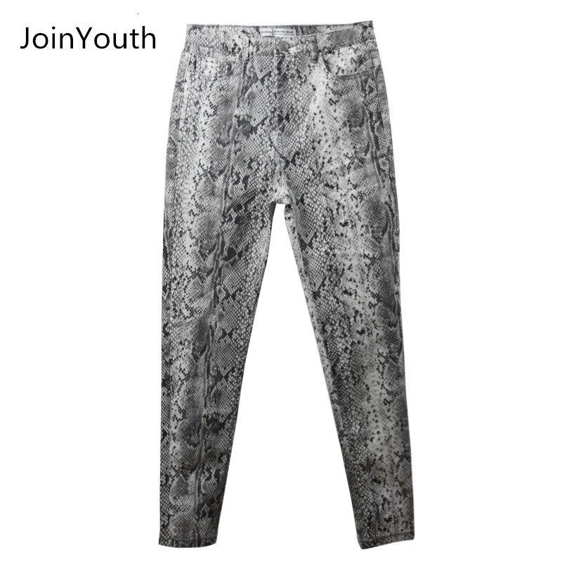 JoinYouth Women Snake Print Pencil Pattern Pants Ladies High Waist Skinny Fashion Stretch Autumn Winter Elastic Female trousers SH190915