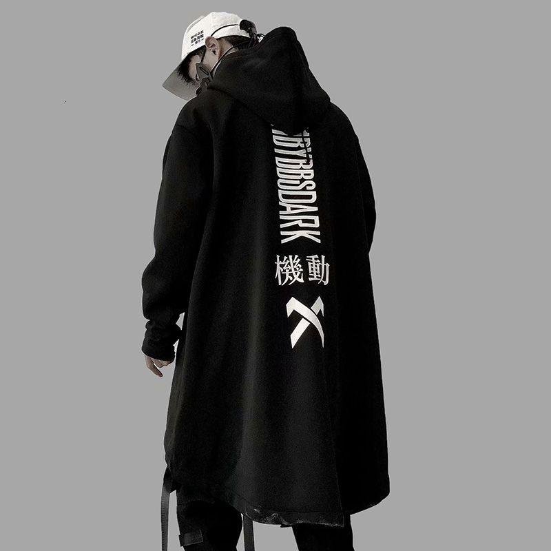 Autunno 2019 uomini Harajuku Hip Hop cappotti maschile Giacca oversize lungo Hoodie del cotone di modo Swag Cappotto e rivestimento US Size V191205