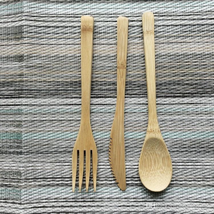 Hot Airchr nouvelle arrivée bambou vaisselle 100% bambou naturel cuillère fourchette couteau ensemble de vaisselle en bois livraison gratuite