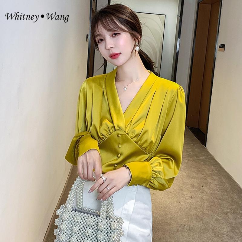 WHITNEY WANG Mulher Blusas Moda streetwear do estilo Vintage V-neck Cetim Blusa Mulheres Blusas Office Lady shirt Tops