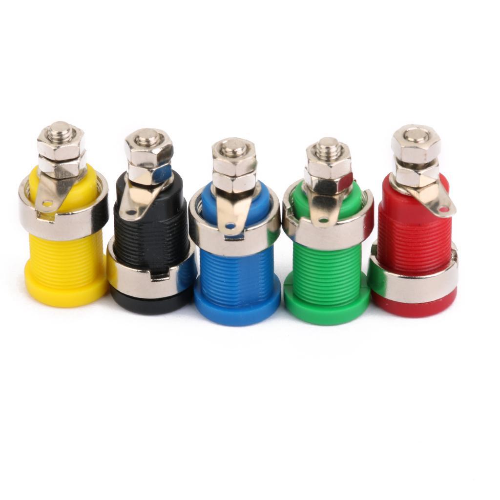 4 mm con aislamiento de plátano Socket Conectores nuevo 5pcs cinco colores