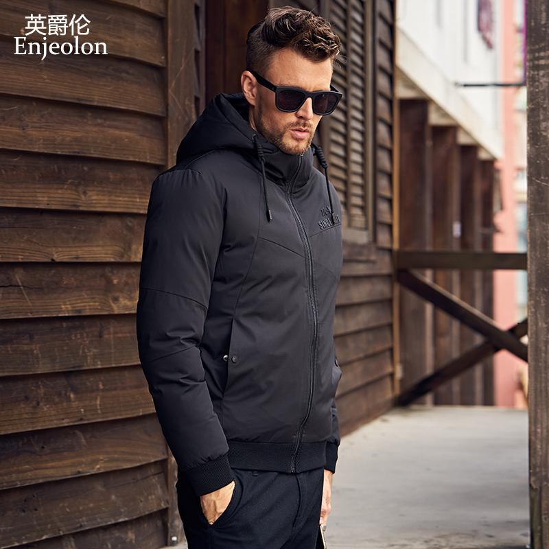 Enjeolon 브랜드 겨울 자켓 남자면 코튼 패딩 후드 파카 코트 남자 블랙 인쇄 자켓 두꺼운 퀼트 자켓 코트 남자 MF0290