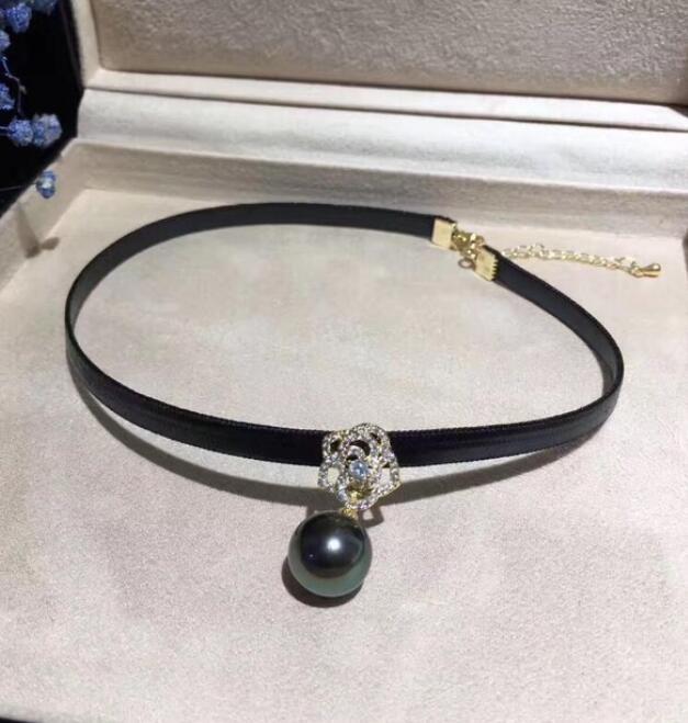 LIVRAISON GRATUITE +++ Perle d'eau de mer naturelle Collier Perles de Tahiti Perles Noires Collier Ras de Cou réglable en Cuir Rose Corde