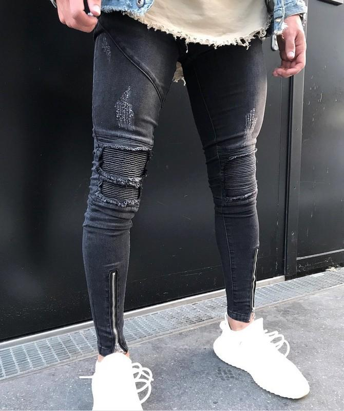 Men Ripped jeans boy Fashion Slim Hole Pants Tro