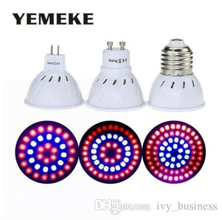 El más nuevo 36 54 72Leds Grow Light E27 / GU10 / MR16 220V Phyto Lamp Full Spectrum LED Grow Light E27 Led lámparas de cultivo para planta