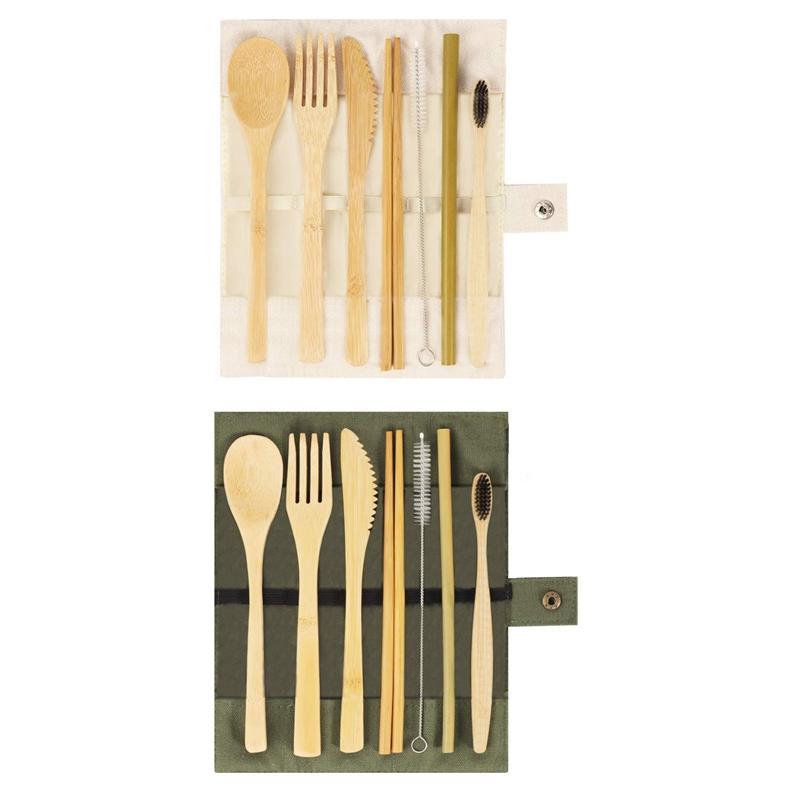 2 set di bambù coltelleria, Viaggi riutilizzabile Posate, coltelleria esterna portatile ambientale Set con bambù coltello, forchetta, cucchiaio