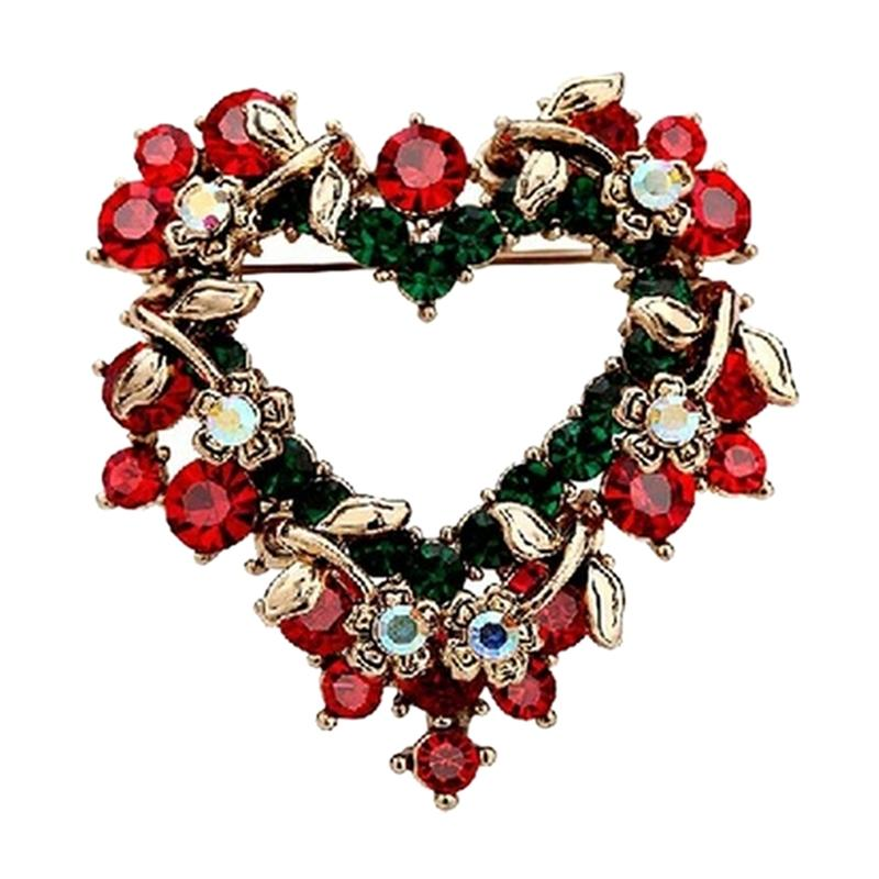 Crystal Brooches Christmas Bows Women Shawl Buckle Christmas Retro Gold Color Love Wreath Heart Exquisite High Quality