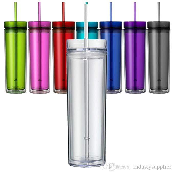 Tumblers flacos acrílicos Tumblers acrílicos transparentes con párpados y pajitas 16 oz flaco de doble pared transparente de plástico claro taza de agua con paja