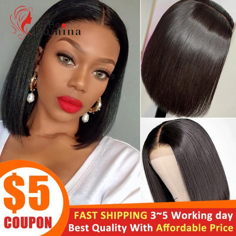 2x6 Short Bob Wig Pre Plucked Lace Closure Wig Brazilian Straight Virgin Human Hair 180% Density 10~14 Inch
