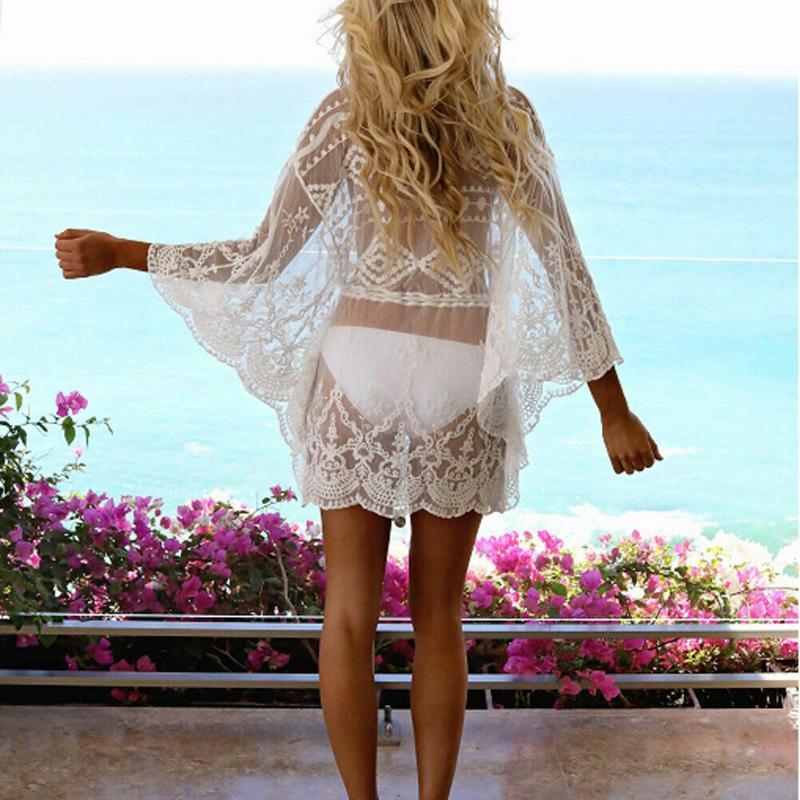 2020 Yaz Kadın Elbise Bikini Kapak Up Çiçek Dantel Hollow Tığ Mayo Kapak-Ups Mayo Beachwear Tunik Plaj Elbise