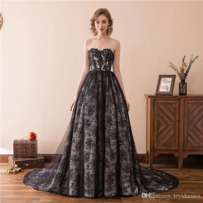 Venda por atacado - Sparkly Strapless A Line Sexy Vestidos De Noite Lindo Rendas Applique Vestido Pageant Celebrity Gowns Custom Made