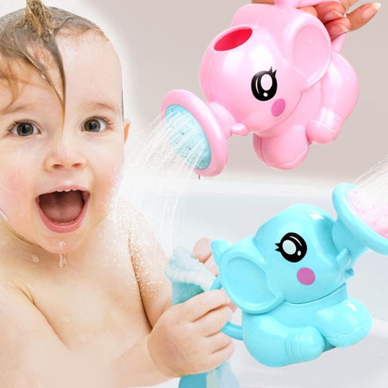 Niños Juguetes de baño Elefante lindo Pote de riego Juguetes Bebé Grifo Baño Herramienta de pulverización de agua Tipo de rueda Dabbling juguetes para el bebé
