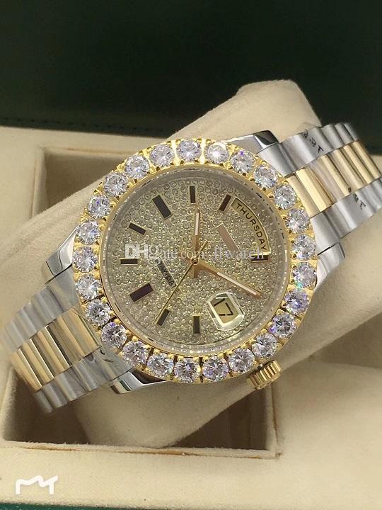 2019 Luxury Luxury Diamond Men's Watch Hong Kong Automatic Machinery Sapphire Stainless Steel Watch 44MM Gold Fashion Watch