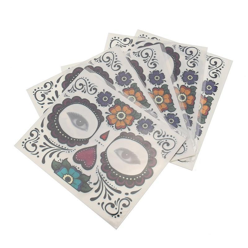 10pcs Disposable Eyeshadow Sticker Magic Eye Face Lace Style Waterproof Temporary Tattoo for Beauty Makeup Stage Halloween Party