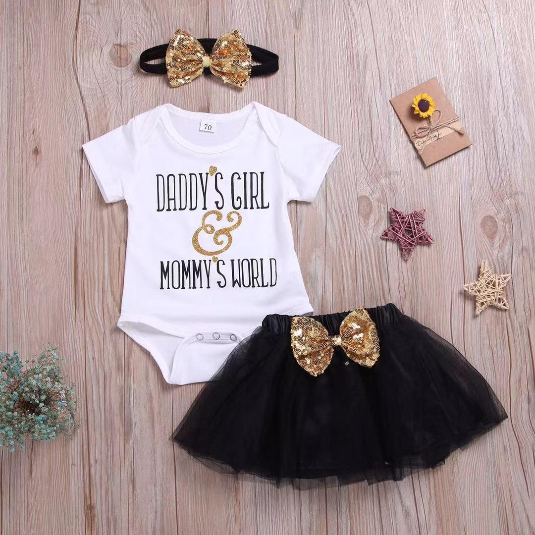 Newborn Infant Baby Girls Daddy Girl Tops Romper Tutu Skirt Dress Outfits UK