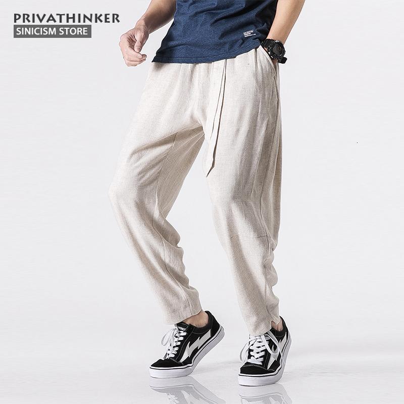 Sinicism tienda 5XL del tamaño extra grande de algodón de lino Harem de los hombres de la correa del basculador Pantalones Pantalones masculinos Tradicional China Paños CJ191210