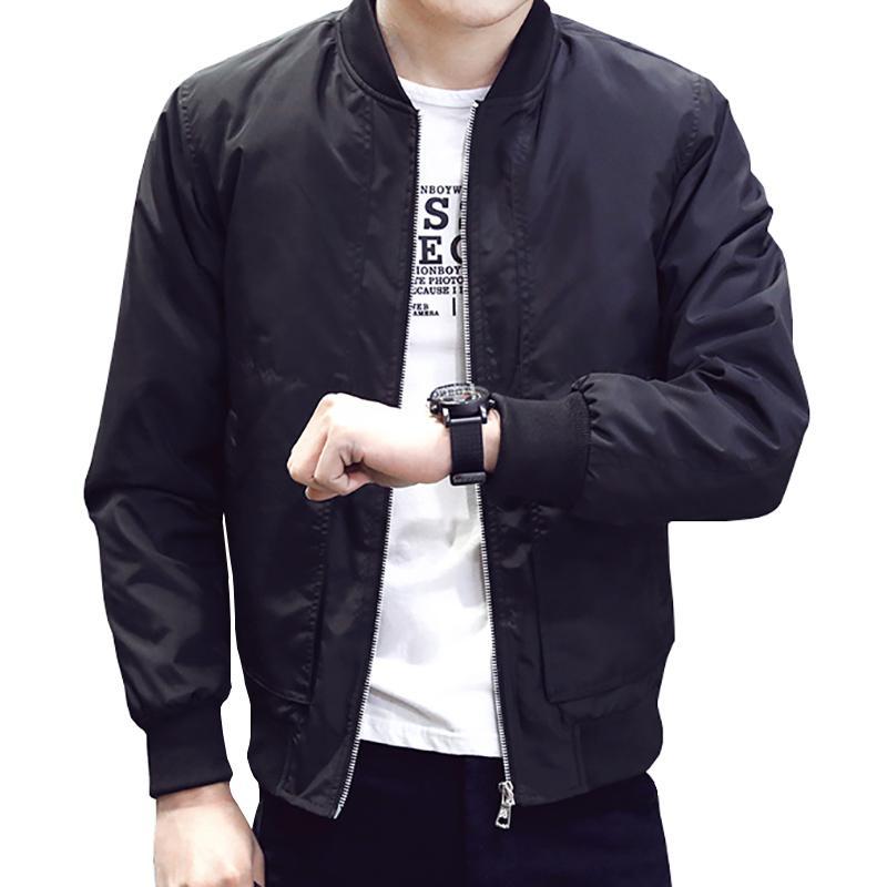2019 Новая весна осень Повседневный Твердая Мода Тонкий Мужчины Bomber Jacket Муж Бейсбол Мужские ветровки куртки пальто Мужские куртки 4XL T200502