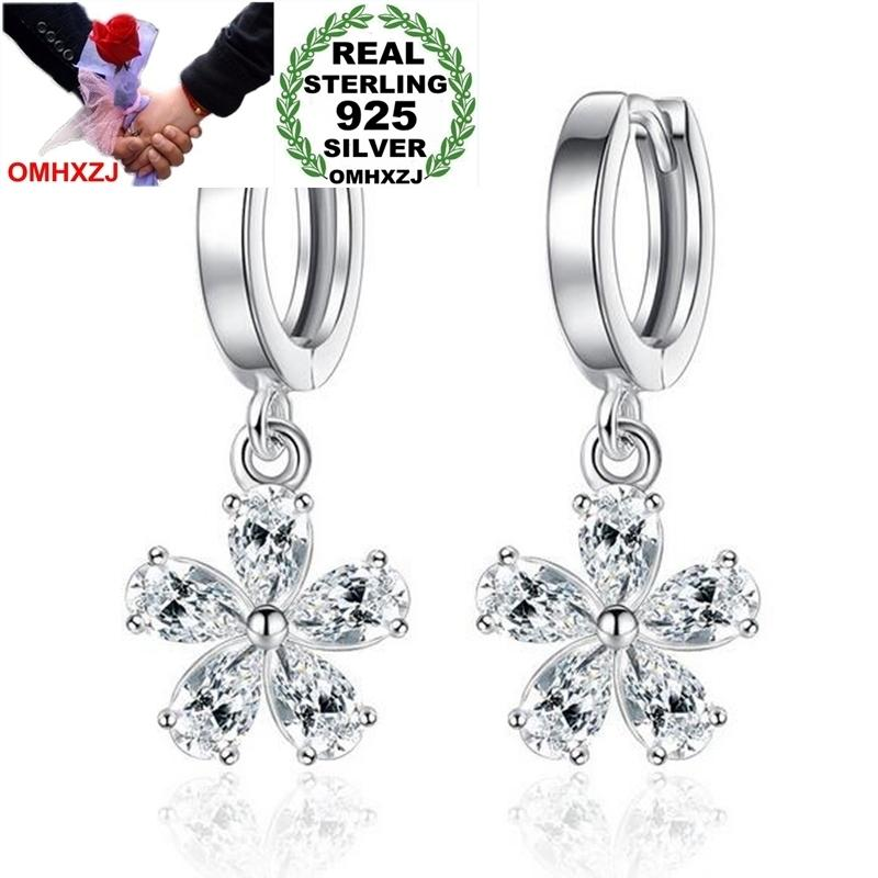 OMHXZJ Wholesale Jewelry fashion star for Woman gifts Sweet Cute Pear Flower 925 Sterling Silver buckle Hoop EarringsYS187