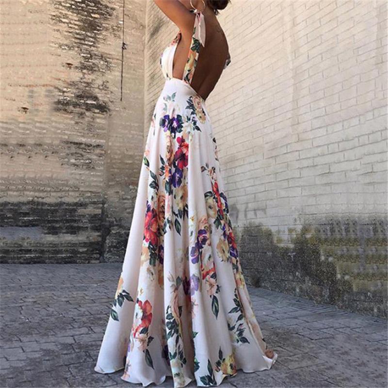 Abiti stampa floreale estate delle donne del V-Collo Backless epoca lungo Boho Cocktail Party casuale allentato Beach vestito rosa 2019