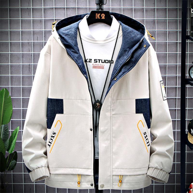 Autunno rivestimento di marca Uomo Casual Zipper Patchwork con cappuccio Bomber Giacche Uomo Windbreaker del cappotto Tuta Marca Abbigliamento Streetwear
